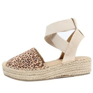 Shoes - Tan Leopard Crochet Elastic Ankle Wrap Espadrille